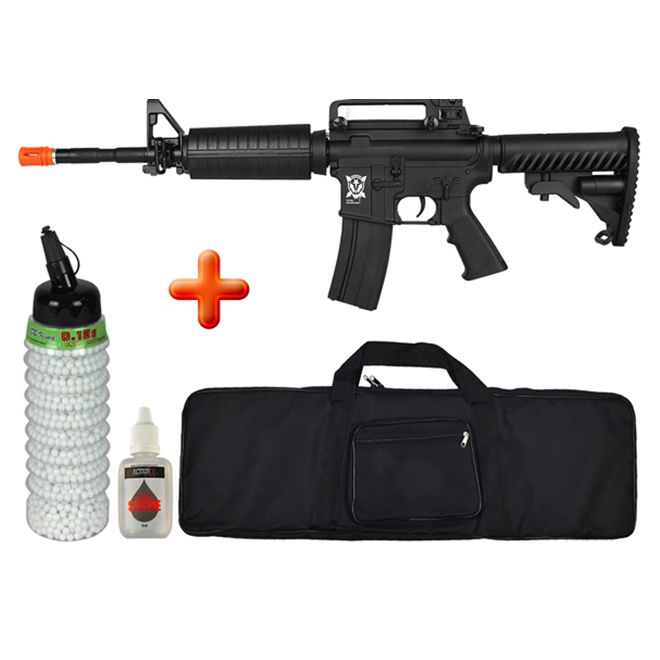 Rifle Airsoft Elétrico M4A1 Blow Black Full Metal + Capa + BBs BB King + Óleo de Silicone