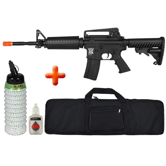 Rifle Airsoft Elétrico M4A1 Blow Black Kompetitior + Capa + BBs BB King + Óleo de Silicone