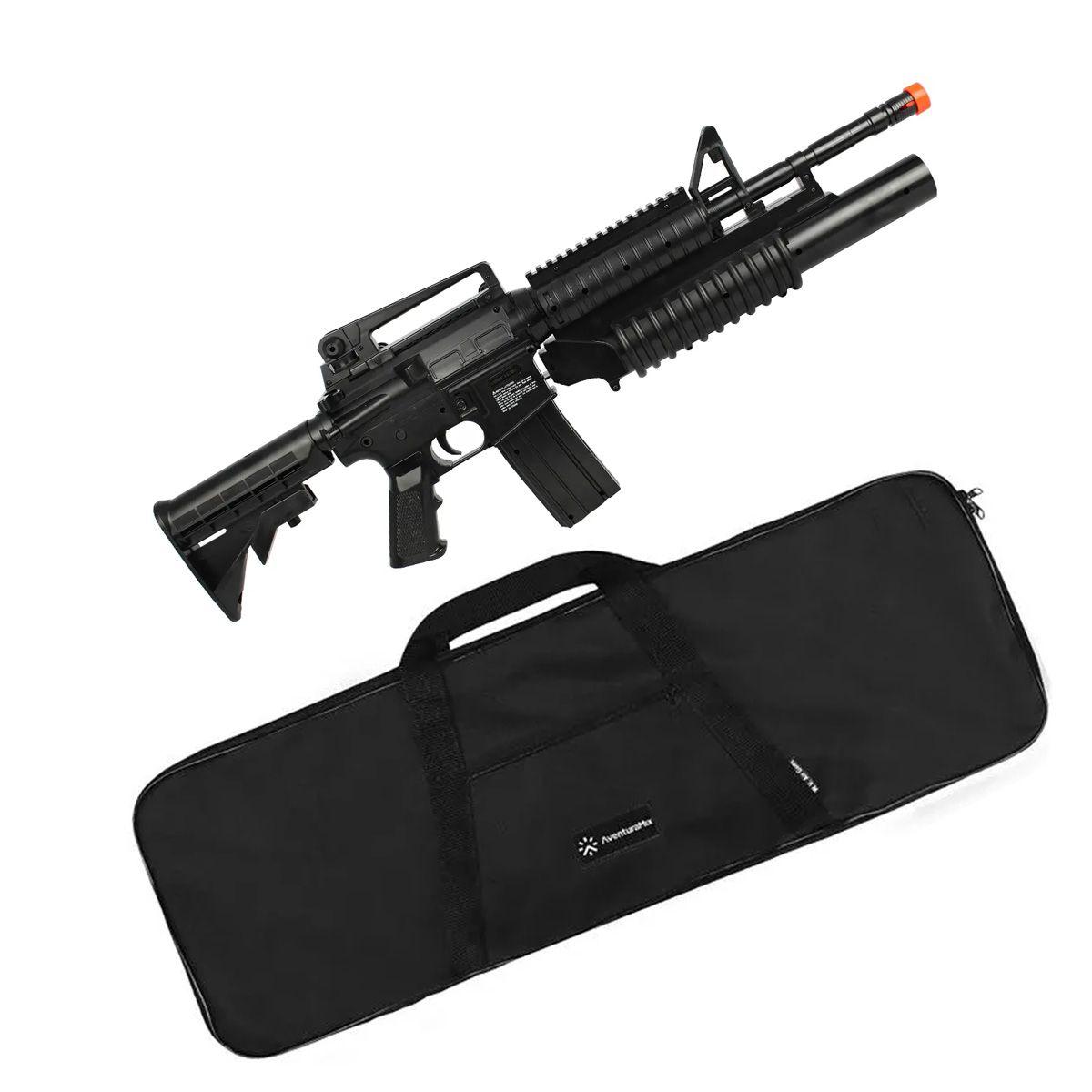 Rifle Airsoft Spring Colt M4A1 RIS Dual Loading + Capa 90x30
