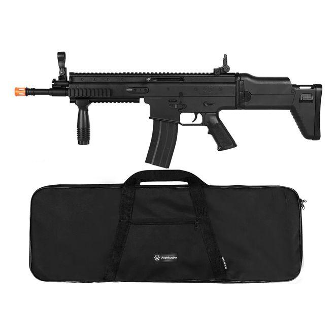 Rifle Airsoft Spring Cybergun FN Herstal Scar-L Black + Capa Simples