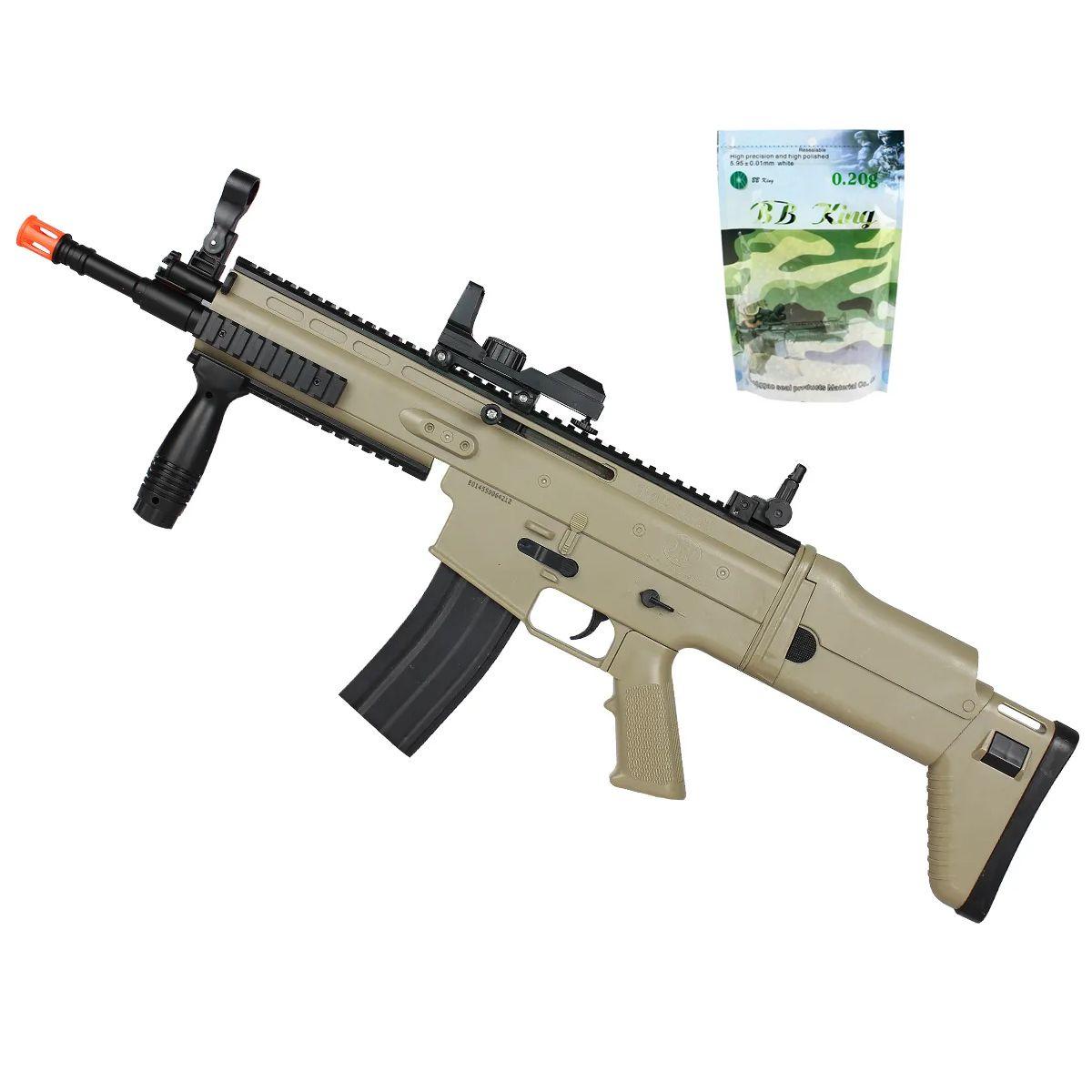 Rifle Airsoft Spring Cybergun Herstal Scar-L Tan + Bb King 0.20g. 5.000un