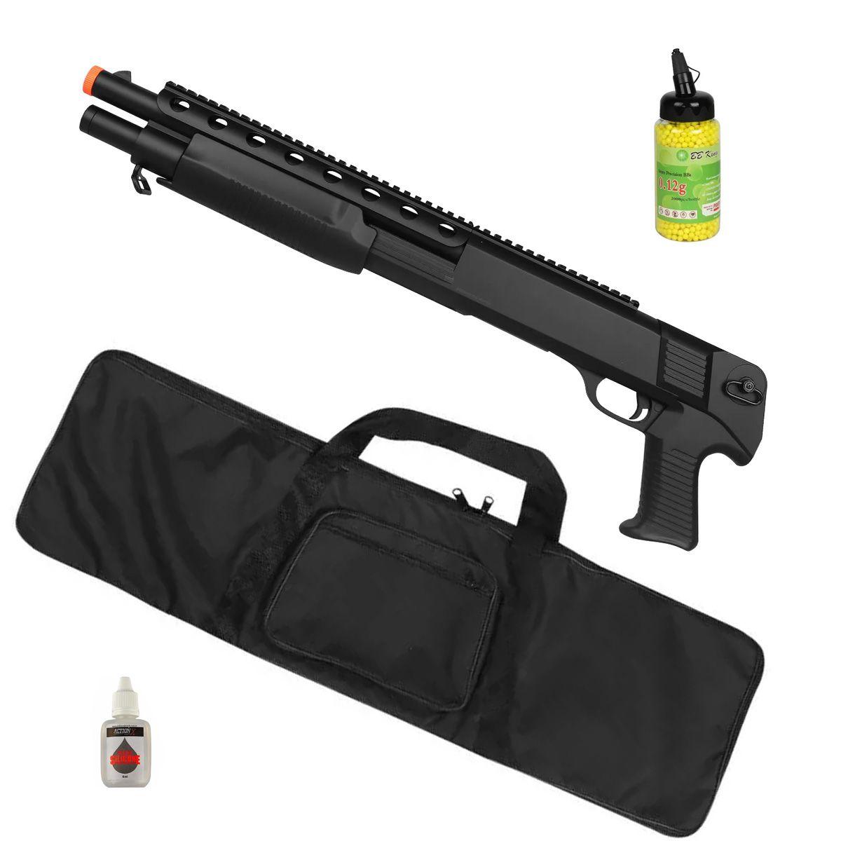 Rifle Airsoft Spring Shotgun M309 + Capa Simples + BBs BB King + Óleo de Silicone