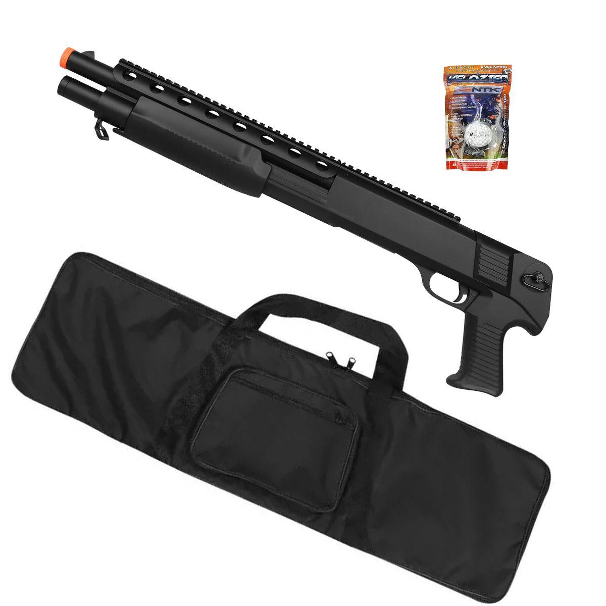 Rifle Airsoft Spring Shotgun M309 + Capa Simples + BBs Nautika