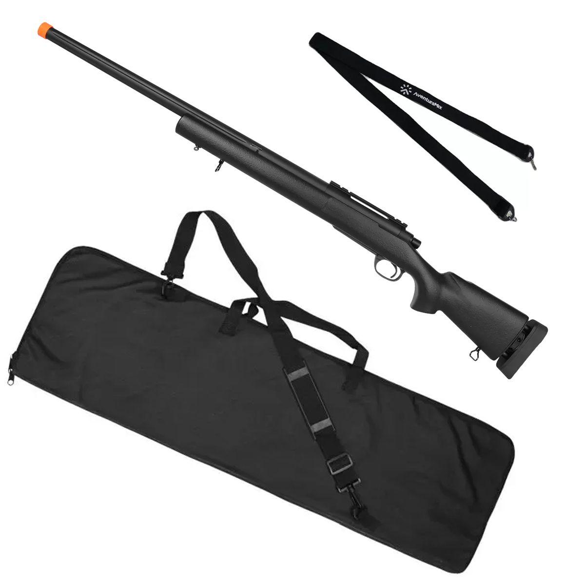 Rifle Airsoft Spring Sniper M24 SWS + Capa de Proteção Rossi 120cm + BRINDE Bandoleira Aventura Mix