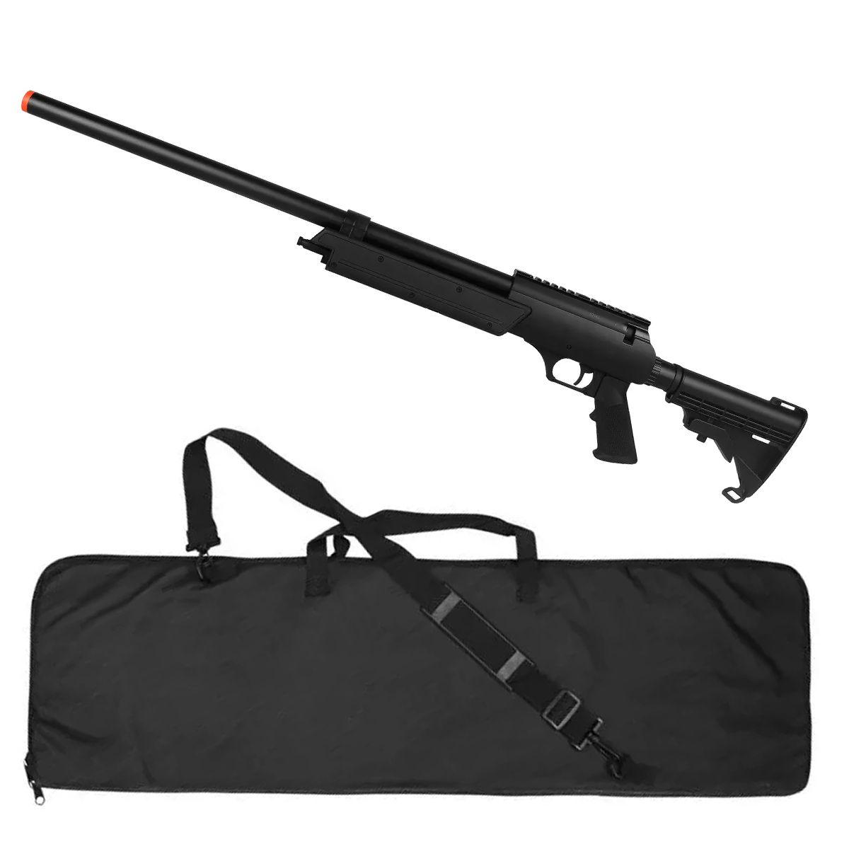 Rifle Airsoft Spring Sniper MB06A + Capa de Proteção Rossi 120cm