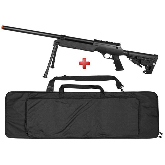 Rifle Airsoft Spring Sniper MB13B + Bipé Tático + Capa de Proteção Rossi 120cm