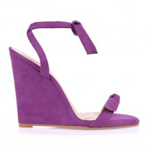 Anabela Salto Alto Lace Up Camurça Grape