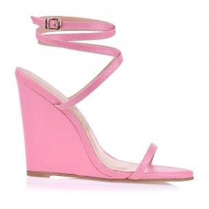 Anabela Salto Alto New Snake Light Pink