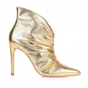 Bota Salto Alto Metalizado Dourado