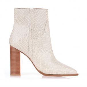 Bota Salto Alto Mini Croco Off White