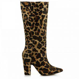 Bota Salto Alto Pelo Leopard