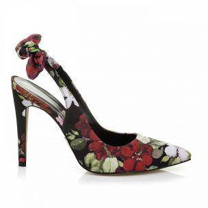 Chanel Salto Alto Floral Preto