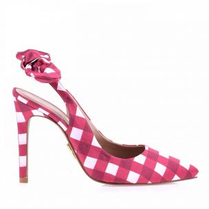 Chanel Salto Alto Gingham Satin Pink