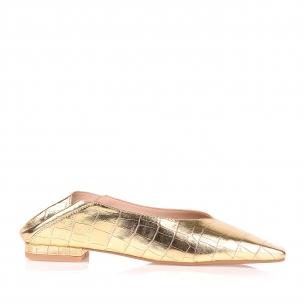 Flat Min Croco Specchio Ouro