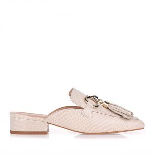 Flat Mini Croco Off White