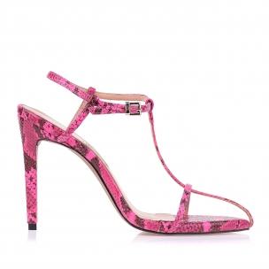 Sandália Salto Alto Anaconda Pink