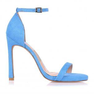 Sandália Salto Alto Camurça Blue