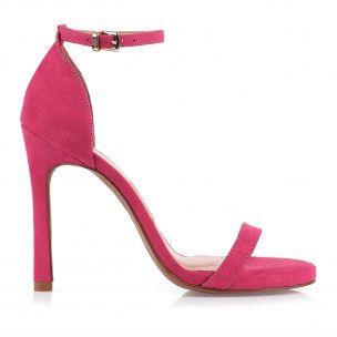Sandália Salto Alto Camurça Rosa