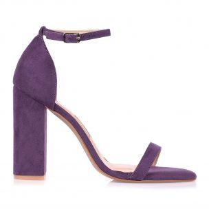 Sandália Salto Alto Camurça Violet
