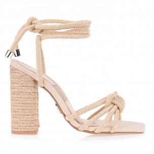 Sandália Salto Alto Cordão Algodão G Natural