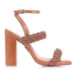 Sandália Salto Alto Cordão Caramelo