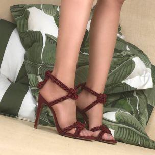 Sandália Salto Alto Cordão Carmim