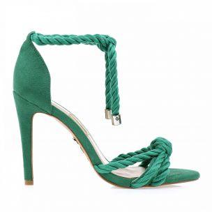 Sandália Salto Alto Cordão Esmeralda