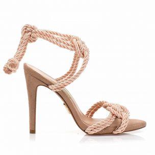 Sandália Salto Alto Cordão Nude
