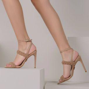 Sandália Salto Alto Cordão Pele