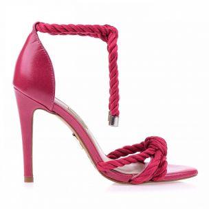Sandália Salto Alto Cordão Pink
