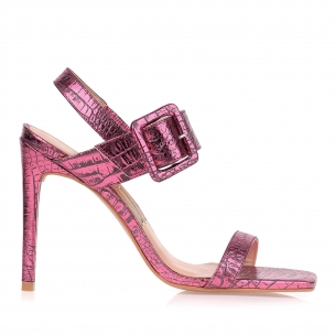 Sandália Salto Alto Croco Specchio Pink