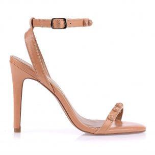 Sandália Salto Alto Fino New Prada Tan