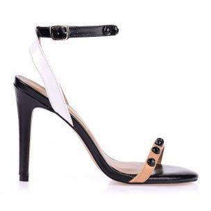 Sandália Salto Alto Fino New Prada Tan/Preto/Branco