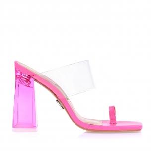 Sandália Salto Alto Fluor Rosa