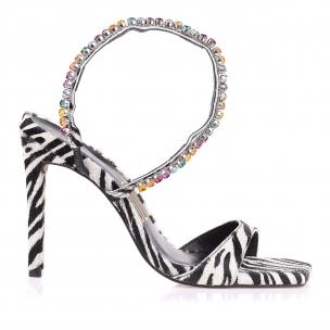 Sandália Salto Alto Fur Zebra