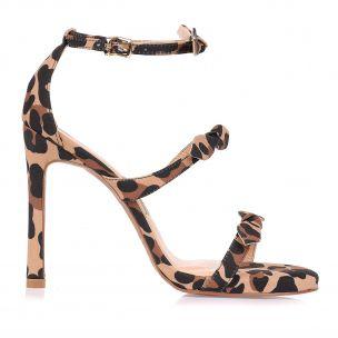Sandália Salto Alto Leopardo Leopard