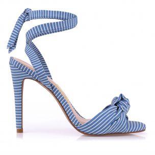 Sandália Salto Alto Listra Giz Azul