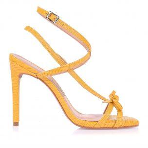 Sandália Salto Alto Lizard Metal Amarelo