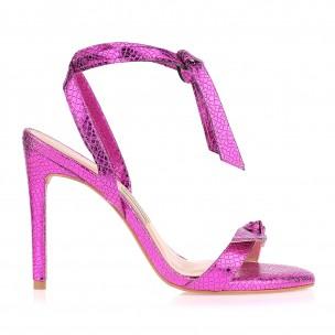 Sandália Salto Alto Metal Piton Pink