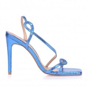 Sandália Salto Alto Metal Serpente Azul