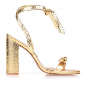 Sandália Salto Alto Metal Serpente Ouro