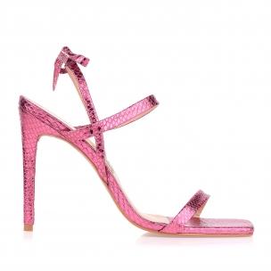 Sandália Salto Alto Metal Serpente Pink