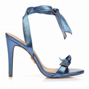 Sandália Salto Alto Metalic Blue