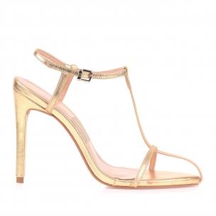 Sandália Salto Alto Metalizado Dourado
