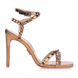 Sandália Salto Alto Metalizado Old Gold