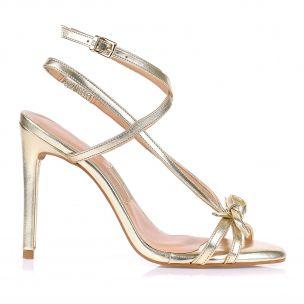 Sandália Salto Alto Metalizado Ouro