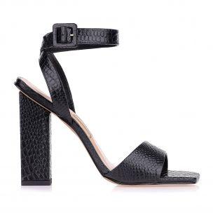 Sandália Salto Alto Mini Croco Preto