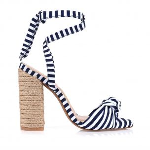 Sandália Salto Alto Mini Stripes Navy