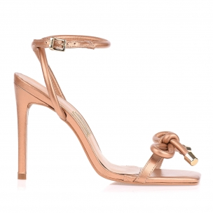 Sandália Salto Alto Perolizado Golden