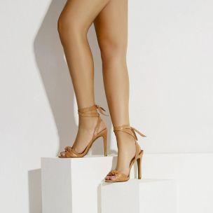 Sandália Salto Alto Prada Tan